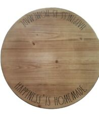 """Rae Dunn """"happiness Is Homemade"""" Wood Spinning Lazy Susan Xl Turntable Farmhouse"""