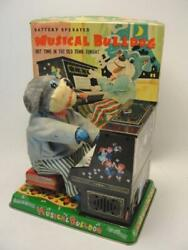 1950and039s Marusan San Japanese Musical Bulldog Playing Piano Battery Op Tin Toy