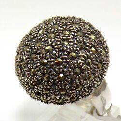 Large Sterling Silver Gray Marcasite Dome Round Flower Ring Size 7 Fz