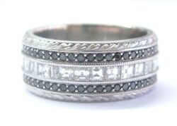 Fine Asscher Cut And Black Diamond Wide White Gold Eternity Band Ring 3.24ct 14kt