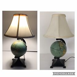 Vintage J. Chein And Co Tin Globe Lamp On Cast Iron Pedestal With Shade