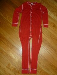 J Crew Knit Goods Mens Size M Union Suit Pajamas In Red With Firemanand039s Flap