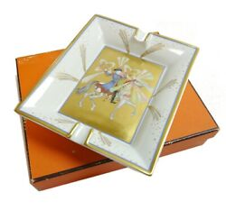 Authentic Hermes Ashtray Horse Accessory Case Pottery 2691