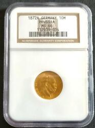 1872a Germany 10 Marc Gold Coin Ngc Ms6 / Wilhelm I