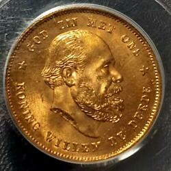 1876 Dutch Willem Iii Gold Coin Ms67 Highest Grade Unused Gold Coin