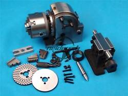 New Bs-0 Eco Precision Dividing Head With 5 3-jaw 125mm Chuck And Tailstock