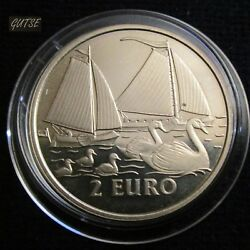 Netherlands 2 Euros 1997 Swans And Sailboats Proof.