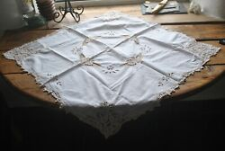 Mixed Lot Of 5 Vintage/antique Table Tray Cloths Runners White Ecru/off White