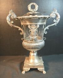 Silver And Glass 19th Century French Empire Style Covered Urn