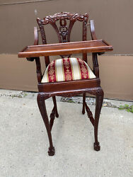 Ornate Vintage Carved Wooden Baby Feeding High Chair Swing Tray Mahogany