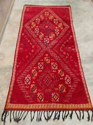Berber Seed Of Life Fertility Vintage 12and039 Area Carpet Red Rug From Morocco