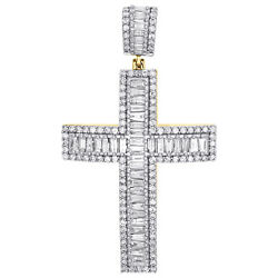 10k Yellow Gold Mens Baguette Diamond Dome Cross Pendant 2 Tiered Charm 2.53 Ct