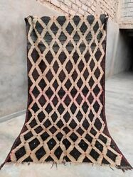 Big Trellis Thick Vintage Berber Wool Carpet From Morocco