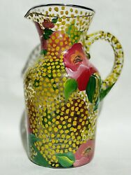 Mackenzie Childs Auntie Cathryn Floral Pitcher Signed And Dated. New Condition.