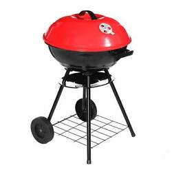 17 Inch Metal Charcoal Bbq Grill Outdoor Camping Cooker With 2 Wheels