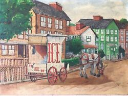 Horse Drawn Ice Wagon Artist Signed And Dated Oil Canvas Framed Art Americana