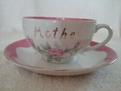 Vintge Lefton Mother Coffee Cup And Saucer-lefton 2593-pink And White