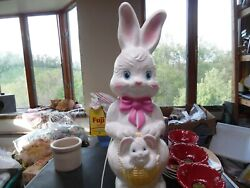 Vintage 21 Easter Bunny Light Up Blow Mold With Baby Bunny In Basket