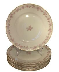Set Of 6 Antique Haviland Limoges France Plates Featuring Roses And Brushed Gold