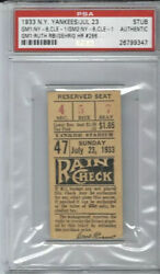 Lou Gehrig Home Run 286 Ticket Stub 1933🔥babe Ruth 2 Hitandrbi-gehrig 4 Hit🔥psa