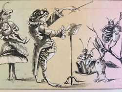 Anthropomorphic Victorian Trade Cards Frogs And Insects Playing In An Orchestra