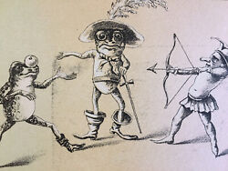 Anthropomorphic Victorian Trade Cards Frogs Fairy Playing, Bow And Arrow, Apple