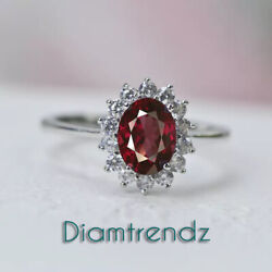 Oval Cut Ruby And 3/4ct Vintage Natural Si Diamond Solitaire Ring 14k Rose Gold