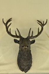 Stunning Large Antiqued Bronze Stag Head - Wall Mounted Hanging Ornament Figure