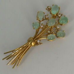 Designer Brooch In Gold With Tourmalines And Brilliant