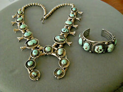 Native American Dry Creek Turquoise Silver Squash Blossom Necklace And Bracelet