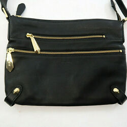 Perlina New York Black Soft Leather Purse Bag Crossbody Gold Accent Zippers $19.95