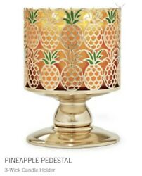 1 BATH BODY WORKS Pineapple 3 WICK CANDLE HOLDER PEDESTAL NEW