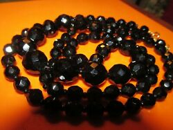Gorgeous Vintage Early 1900s Faceted Graduated Jet Bead Necklace 36 Inches
