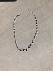 """Effy 14k White Gold Sapphire And Diamond Necklace, 16"""", Discontinued"""