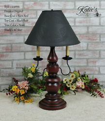 Handcrafted Large Liberty Table Lamp W/punch Tin Shade Arms/no Arm Free Shipping