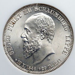 1911 A German States Schaumburg-lippe George Silver 3mark Ngc Coin I91318