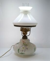 Antique Hurricane Consolidated Table Glass Lamp Early Raised Emboss Milk Glass