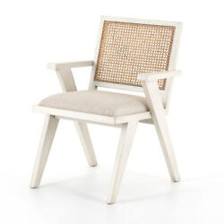 33 H Tonino Contemporary Victorian Dining Chair Occasional White Oak Cane Back