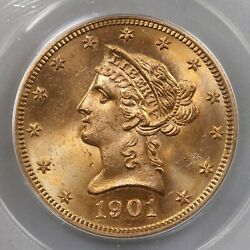 1901-s Liberty 10 Pcgs Certified Ms65 Old Green Label Premium Quality Gold Coin