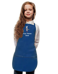 Personalized Kids Apron Royal Blue Monogrammed for little Boy and Girl Chefs $23.99