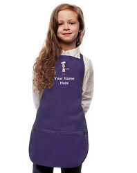 Personalized Kids Apron Purple Monogrammed for little Boy and Girl Chefs $23.99