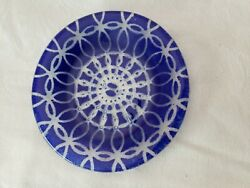 Glass Dish Blue Clear Art Glass Swirl Pattern Collectable Find Unique