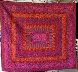 Homemade King-size Quilt, Bright Beautiful Pinks And Purples, Quality 92x102