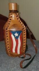 Vintage Puerto Rico Decanter Canteen Hand Tooled Leather Covered Glass Bottle