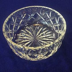 """Royal Doulton England Hand Blown Crystal Cut Glass 6"""" Bowl Dish Etched Signature"""