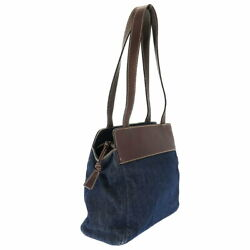 Secondhand Denim 6th Unit Tote Bag Shoulder Razor Brown Navy Tea No.9727