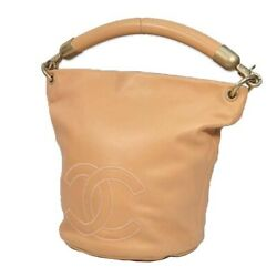 Used One Shoulder Coco Mark Womenand039s Bag Pink Beige No.703