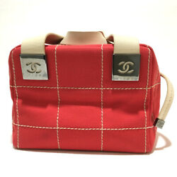 Horizontal Vanity Bag Chocolate Bar Cc Handbag Canvas Razor Red No.834