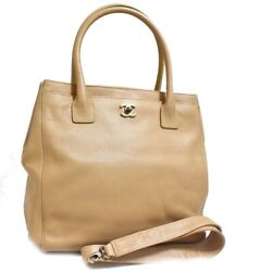 Secondhand 2way Coco Mark Executive Tote Bag Women And039s Beige No.2870
