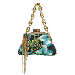 Pre-owned 159080 204990 Bamboo Jewel Clutch Bag Green Multicolor Satin F/s